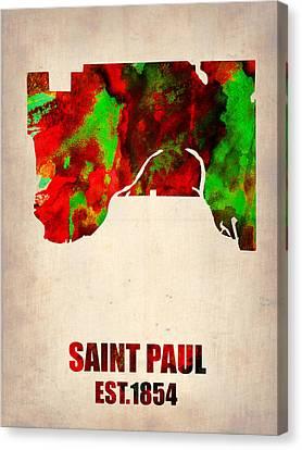 Saint Paul Watercolor Map Canvas Print by Naxart Studio