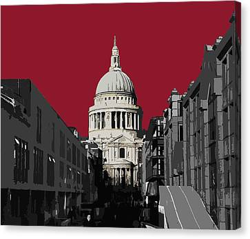 London Canvas Print - Saint Pauls - Blazing Red by Big Fat Arts