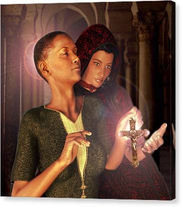 Canvas Print featuring the painting Saint Perpetua And Felicity by Suzanne Silvir