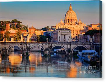 Italian Street Canvas Print - Saint Peters Basilica by Inge Johnsson