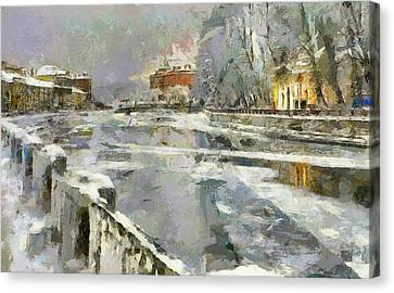 Saint Petersburg At Winter Canvas Print by Yury Malkov
