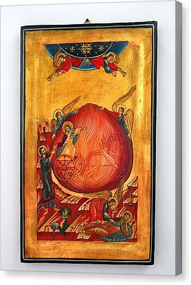 Handpainted Icon Canvas Print - Saint Prophet Elias Hand Painted Russian Byzantine Icon  by Denise Clemenco