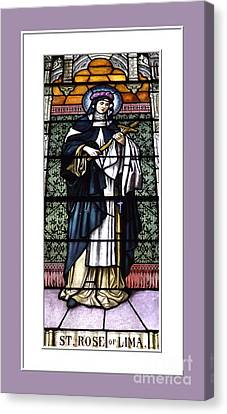 Saint Rose Of Lima Stained Glass Window Canvas Print