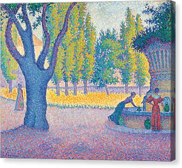 Saint-tropez Fontaine Des Lices Canvas Print by Paul Signac