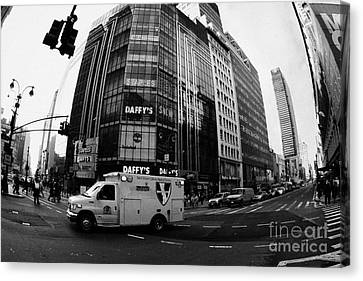 Saint Vincent Catholic Medical Centre Ambulance Crossing 6th Avenue And Broadway Canvas Print by Joe Fox