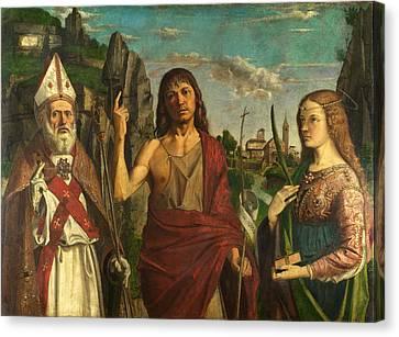 Saint Zeno Saint John The Baptist And A Female Martyr Canvas Print