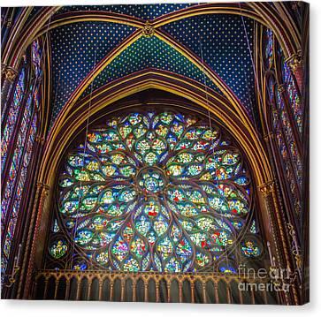 Ceiling Canvas Print - Sainte-chapelle Fenetre Ronde by Inge Johnsson