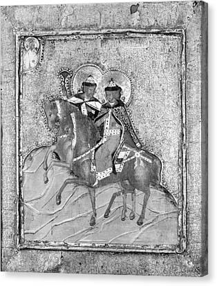 Russian Icon Canvas Print - Saints Boris And Gleb by Russian Painter