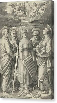 Saints Paul, John, Cecilia, Peter And Mary Magdalene Canvas Print by Nicolaes De Bruyn And Marcantonio Raimondi