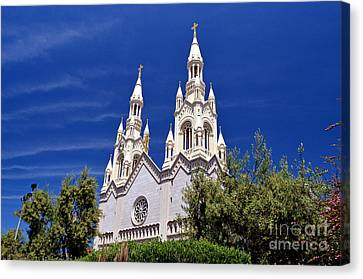 Saints Peter And Paul Church In San Francisco Canvas Print by Jim Fitzpatrick