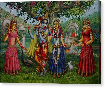 Sakhi Yugal Canvas Print by Vrindavan Das