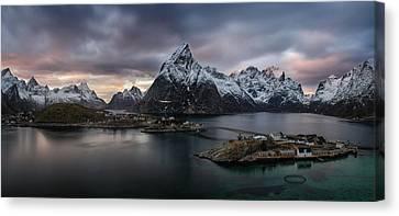 Sakrisoya Village On Reinefjorden Among Canvas Print