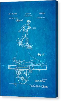 Sakwa Skateboard Brake Patent Art 1966 Blueprint Canvas Print by Ian Monk