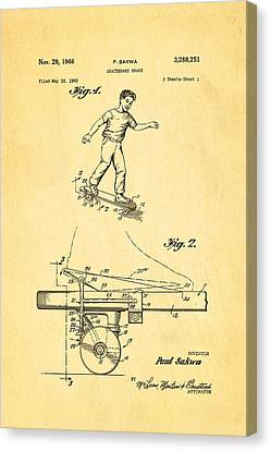 Sakwa Skateboard Brake Patent Art 1966 Canvas Print by Ian Monk