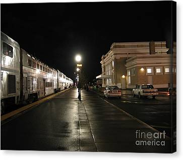 Salem Amtrak Depot At Night Canvas Print by James B Toy