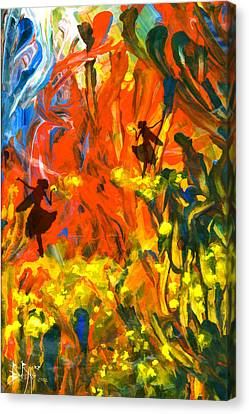 Canvas Print featuring the painting Salient Celebration by Ron Richard Baviello