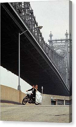 Sally Armstrong On The Back Of A Motorcycle Canvas Print by William Connors