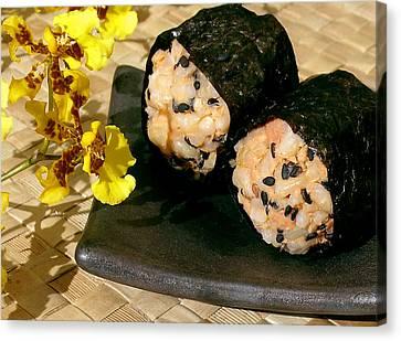 Salmon And Black Sesame Onigiri Canvas Print by James Temple