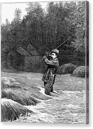 Salmon Fishing, 1885 Canvas Print