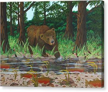Salmon Fishing Canvas Print by Katherine Young-Beck