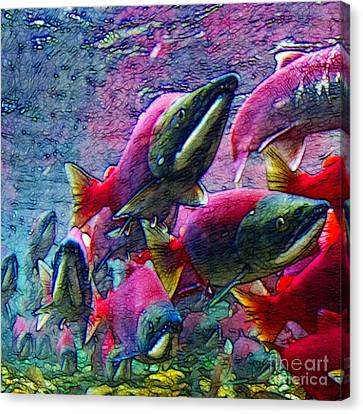 Salmon Run - Square - 2013-0103 Canvas Print by Wingsdomain Art and Photography