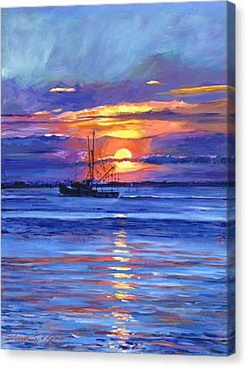 Salmon Trawler At Sunrise Canvas Print by David Lloyd Glover