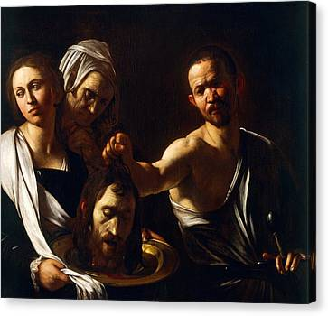 Salome Receives Head Of John The Baptist Canvas Print by Michelangelo Merisi da Caravaggio