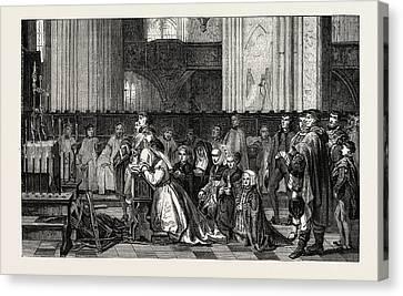 Salon Of 1855. Belgian School Canvas Print by Leys, Jan August Hendrik, Baron Leys (1815-1869), Belgian