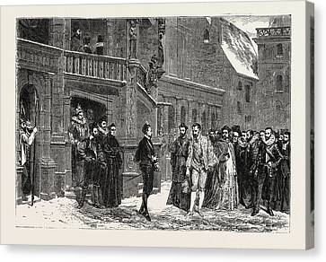 Salon Of 1855. Henry IIi And The Duke De Guise Canvas Print by Litz Collection