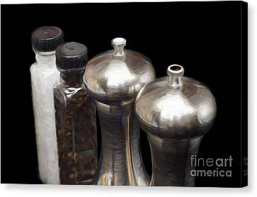 Salt And Pepper Mills Painting  Canvas Print by Andee Design