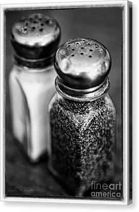 Salt And Pepper Shaker  Black And White Canvas Print by Iris Richardson