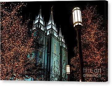 Salt Lake City Mormon Temple Christmas Lights Canvas Print by Gary Whitton