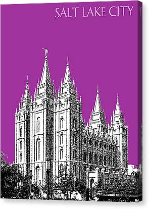 Salt Lake City Skyline Mormon Temple - Plum Canvas Print by DB Artist