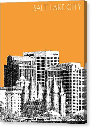 Utah Art Canvas Print - Salt Lake City Skyline - Orange by DB Artist