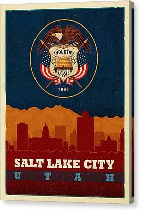 Utah Art Canvas Print - Salt Lake City Skyline State Flag Of Utah Art Poster Series 009 by Design Turnpike