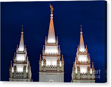 Salt Lake Lds Mormon Temple At Night Canvas Print by Gary Whitton
