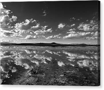 Great Salt Lake Canvas Print - Salt Lake Reflections Black And White by Leland D Howard