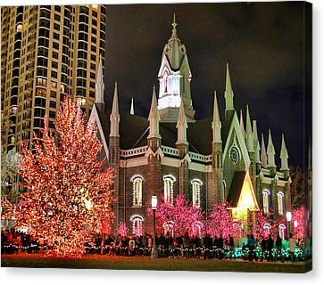 Canvas Print featuring the photograph Salt Lake Temple - 3 by Ely Arsha