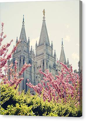 Salt Lake Temple In Spring Canvas Print