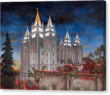 Late Canvas Print - Salt Lake Temple by Jeff Brimley