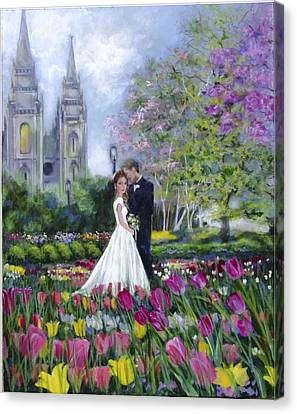 Salt Lake Temple-married In Spring Canvas Print