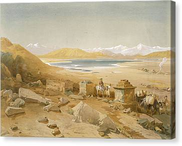 Ruin Canvas Print - Salt Lake - Thibet, From India Ancient by William 'Crimea' Simpson