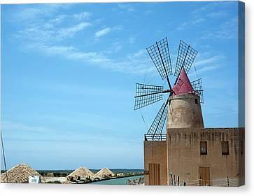 Salt Pan Windmill Canvas Print by Jon Wilson