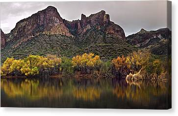 Salt River Mountain Reflections Canvas Print by Dave Dilli