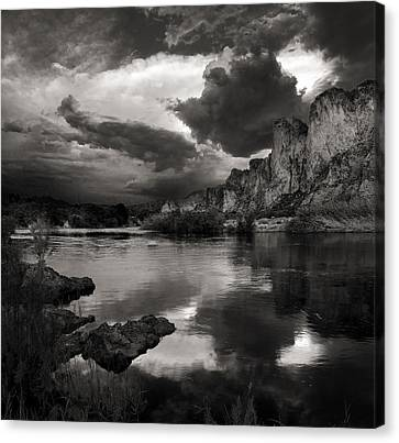 Salt River Stormy Black And White Canvas Print by Dave Dilli