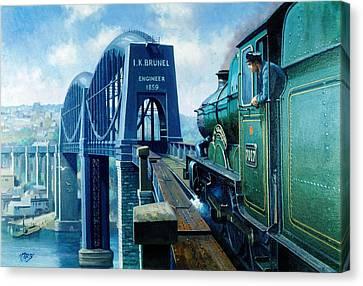 Saltash Bridge. Canvas Print by Mike  Jeffries