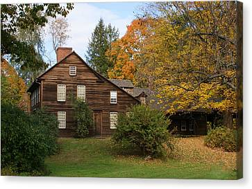 Saltbox In Fall Canvas Print by Lois Lepisto