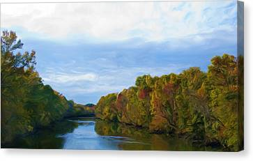 Saluda River In The Fall Canvas Print by Steven Richardson