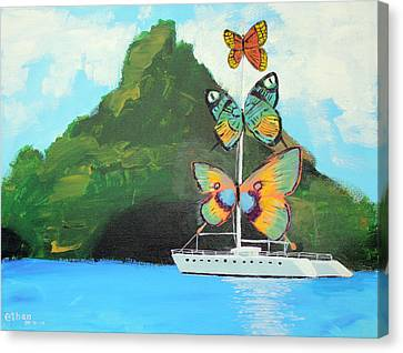 Salvador Dali Inspired Butterfly Catamaran Canvas Print by Ethan Altshuler