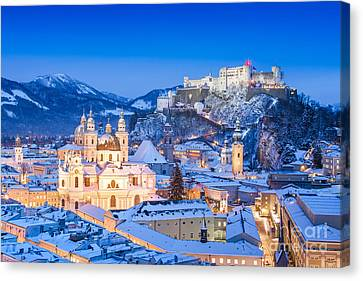 Salzburg In Winter Canvas Print by JR Photography